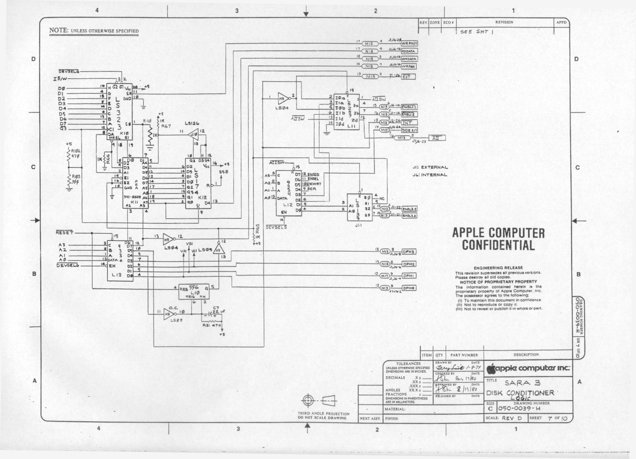 Apple Disk Ii Schematics Real Wiring Diagram Ipad 2 Logic Board Apple2 Org Za Mirrors Rh Schematic Controller
